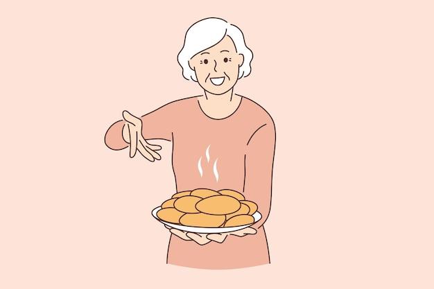 Tratamento do conceito de avó e comida. mulher idosa feliz sorridente, avó segurando um prato cheio de bolos de tortas recém-assados, ilustração vetorial