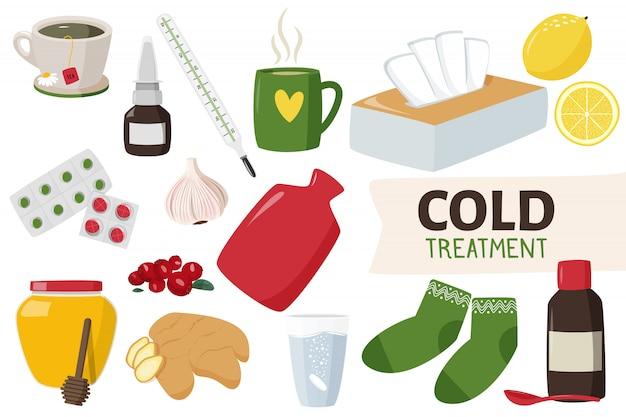 Tratamento em casa e medicamentos para resfriado.