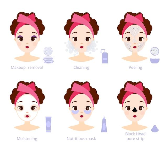 Tratamento facial feminino com ilustração cosmética, cuidados com a pele do rosto e higiene