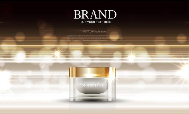 Tratamento facial hidratante para a pele à venda anual ou venda em festival. frasco de máscara de creme dourado isolado