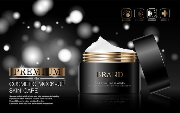 Tratamento facial hidratante para a pele para venda anual ou venda em festival. frasco de máscara de creme marrom prateado isolado