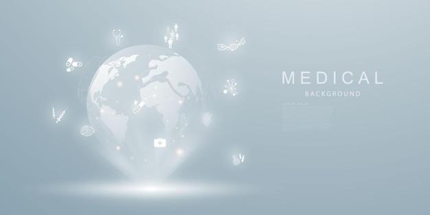 Tratamento médico no conceito de inovação abstrato de comunicação de tecnologia
