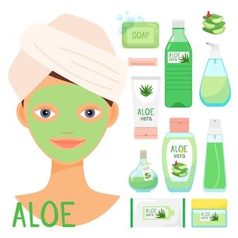Tratamentos de beleza com cosméticos orgânicos de aloe vera