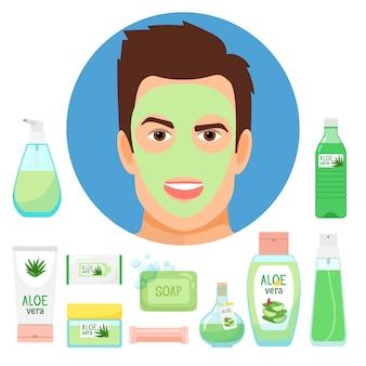 Tratamentos de beleza masculina com cosméticos orgânicos de aloe vera