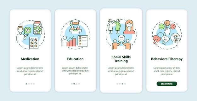 Tratamentos para tdah em adultos na tela da página do aplicativo móvel. terapia comportamental passo a passo 4 etapas instruções gráficas com conceitos. modelo de vetor ui, ux e gui com ilustrações coloridas lineares