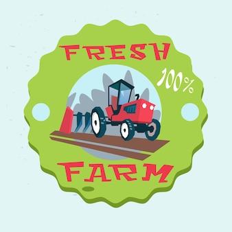 Trator arando campo eco fresco fazenda logotipo