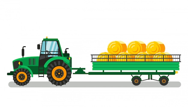 Trator com montes de feno na ilustração do vetor de carrinho