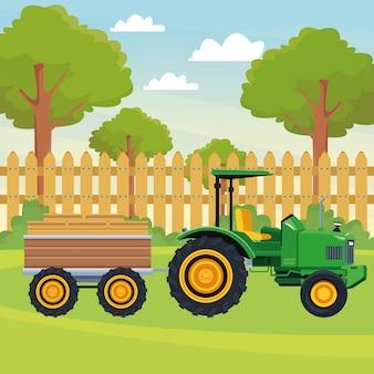 Trator de caminhão de fazenda e reboque