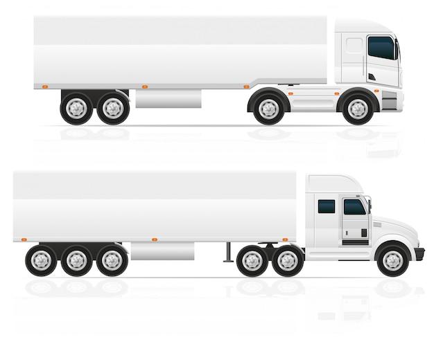 Trator de caminhão grande em branco para ilustração vetorial de carga de transporte