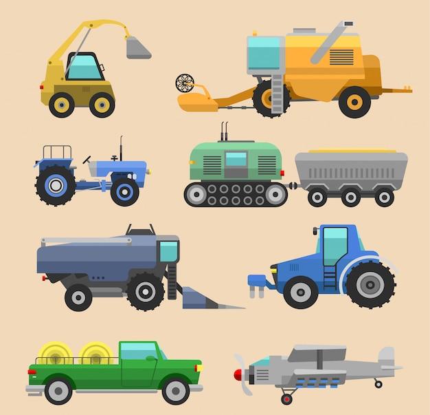 Trator de colheitadeira de veículos agrícolas, máquina combinada e escavadeira. conjunto de ícones de colheitadeira agrícola com acessórios para tratores de aragem, sega, plantio e colheita