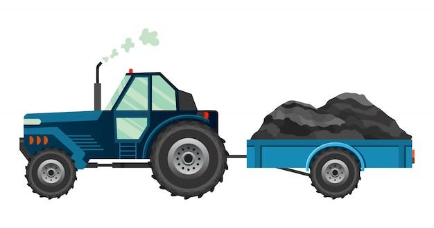 Trator de fazenda azul que carrega um reboque. maquinaria agrícola pesada.