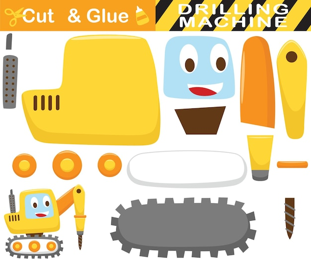 Trator de perfuração engraçado. jogo de papel de educação para crianças. recorte e colagem. ilustração dos desenhos animados