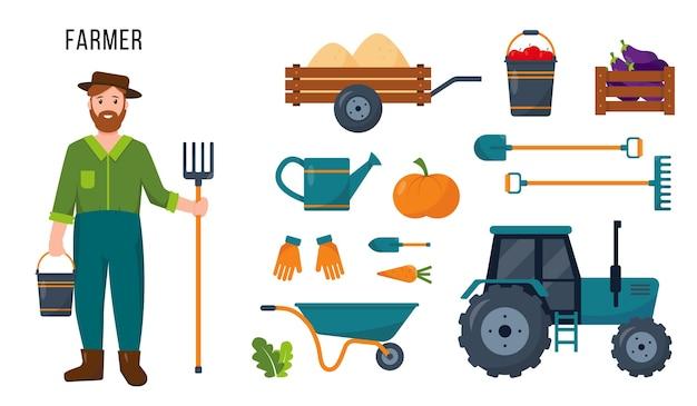Trator de personagem de fazendeiro e conjunto de ferramentas e equipamentos agrícolas para seu trabalho