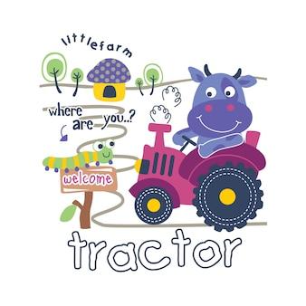 Trator e vaca cartoon animal engraçado, ilustração vetorial