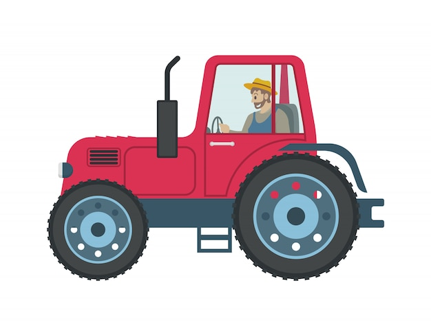 Trator homem dirigindo carro