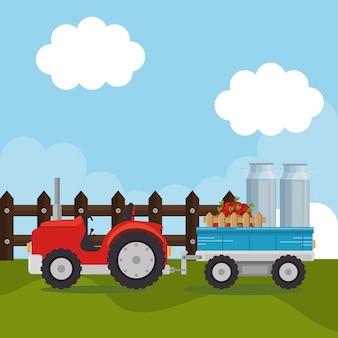 Trator na cena da fazenda