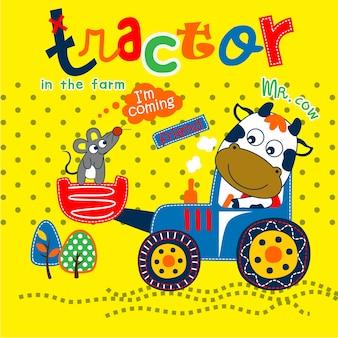 Trator na fazenda cartoon animal engraçado