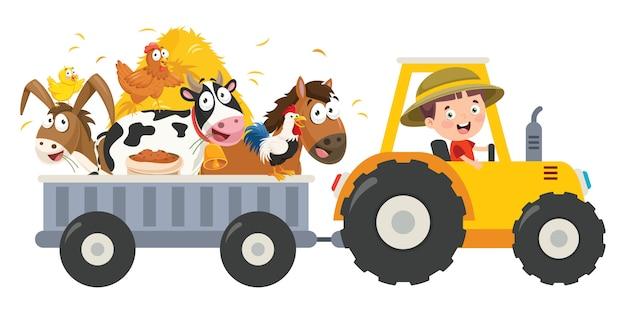 Trator pequeno engraçado da equitação do fazendeiro