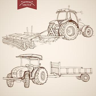 Trator vintage mão desenhada arar coleção de solo de gravura. pencil sketch farm machinery