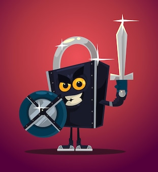 Trave o personagem do guerreiro de segurança.