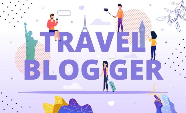 Travel blogger advertising poster e pessoas felizes