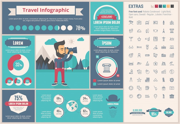 Travel flat design template infográfico