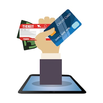 Travel hand hold cartão de crédito bilhete dinheiro dólar