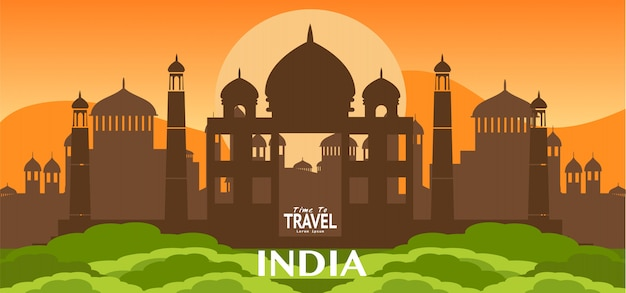 Travel india famous landmarks illustration