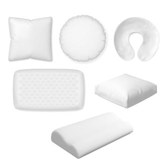 Travesseiro de dormir. vector têxtil, macio, travesseiro de espuma de memória, almofada de quarto ortopédica coleção de tamanhos diferentes.