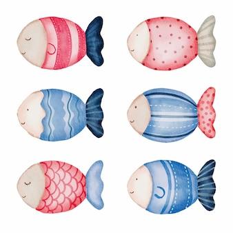 Travesseiro de peixes em aquarela.