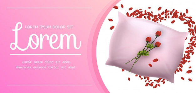 Travesseiro macio rosa com linda flor vermelha banner