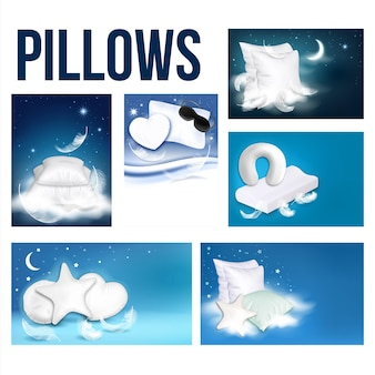Travesseiros para dormir publicidade banner definir vetor. insônia anuncie cartaz com travesseiros em formas clássico e coração, estrela e redondo. ilustrações de modelos de acessórios para dormir com conforto