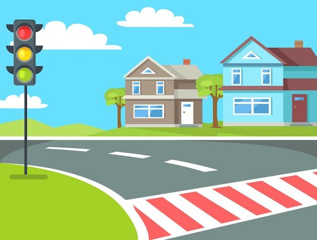 Travessia de pedestres com semáforos na estrada