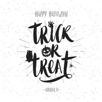 Travessuras ou gostosuras - caligrafia desenhada à mão. ilustração de halloween. cartaz de férias ou cartão.