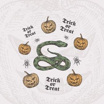 Travessuras ou gostosuras de cobra e abóboras de halloween desenhado à mão com desenho de aranha