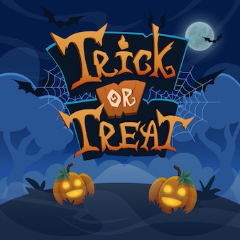 Travessuras ou gostosuras desenhadas à mão letras banner de celebração de halloween texto estilizado de vetor
