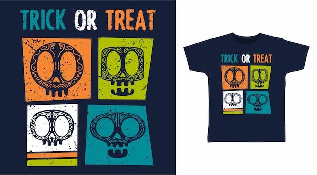 Travessuras ou gostosuras design de camiseta com caveira de halloween