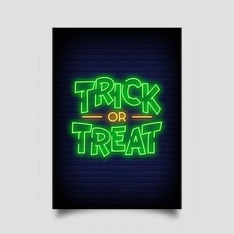 Travessuras ou gostosuras para cartaz em estilo neon.