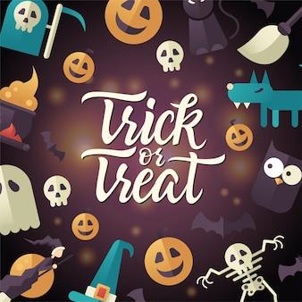 Travessuras ou gostosuras - pôster de celebração de halloween com texto de caligrafia. ilustração vetorial com abóbora, jack-o-lantern, esqueleto, fantasma, lobisomem, vassoura de bruxa, chapéu, coruja, lua, gato preto, morcegos