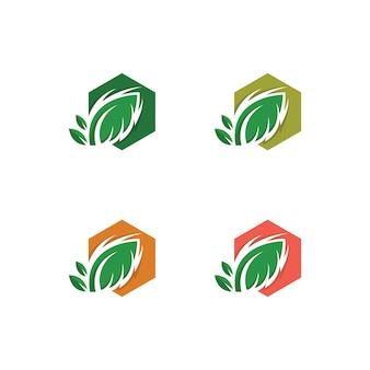 Tree leaf vector icon modelo de design de ilustração