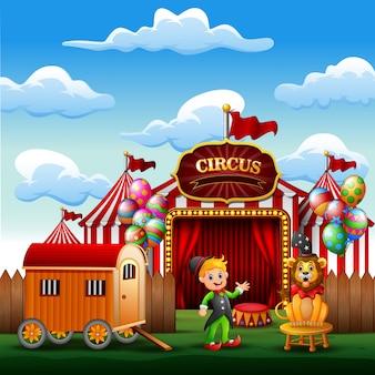 Treinador de desenho animado com um leão na entrada do circo