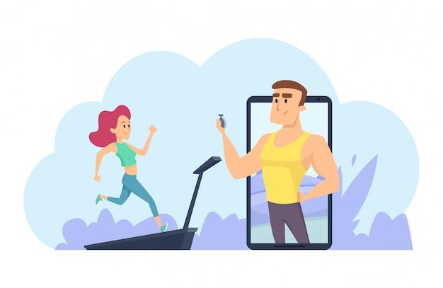 Treinador de fitness online. conceito de treinamento pessoal. ilustração vetorial de treinamento online com garota correndo