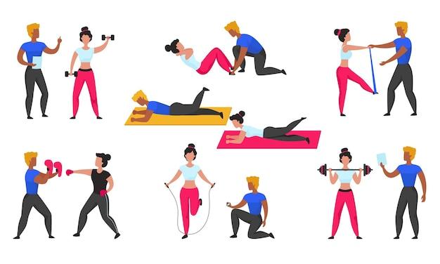 Treinador de ginástica. personal trainer fitness, personagens de desenhos animados fazendo exercícios esportivos e cardio