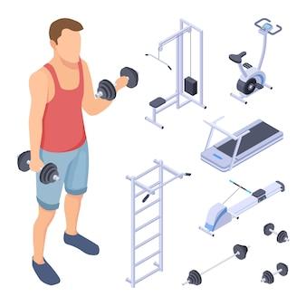 Treinador e equipamento de fitness. elementos isométricos do ginásio. vector esportes homem treinando