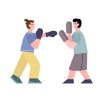 Treinador e lutador masculino estão treinando boxe