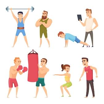 Treinador pessoal no ginásio. vetor definido caracteres