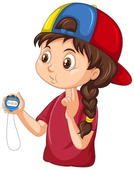 Treinadora esportiva segurando um personagem de desenho animado com cronômetro