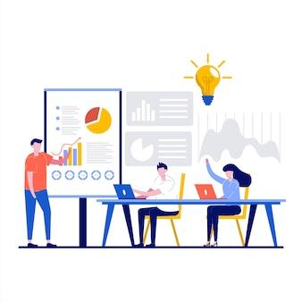 Treinamento, conceitos de escola de negócios com personagem.