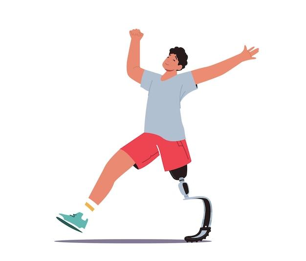 Treinamento de corrida de caráter de atleta com deficiência, esportista com prótese biônica de perna
