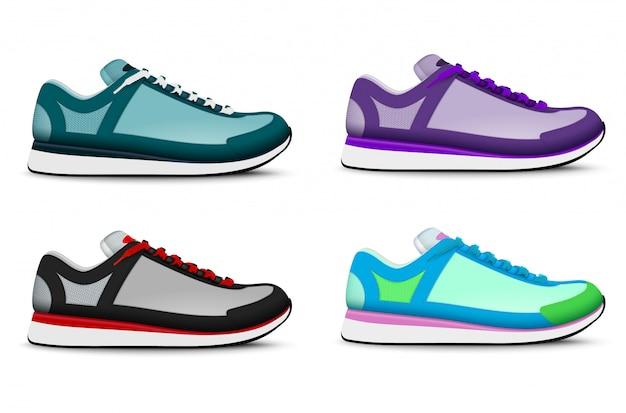 Treinamento de esporte na moda colorido executando tênis conjunto realista de ilustração isolado de tênis 4 pé direito